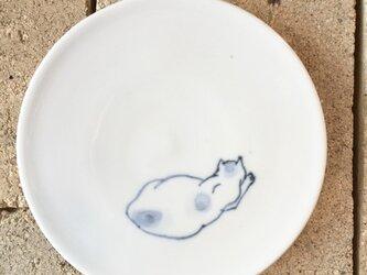 染付4寸猫皿 42の画像