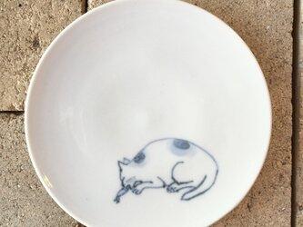 染付4寸猫皿 46の画像
