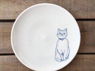 染付4寸猫皿 51の画像