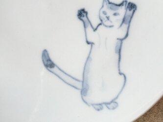 染付5寸猫皿 47の画像