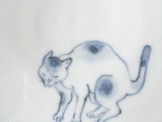 染付5寸猫皿 49の画像