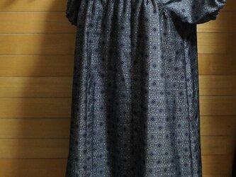 大島紬 グレー 小紋 パフ袖OPの画像
