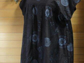 大島紬 青丸紋 ヨーク切り替えギャザーOPの画像