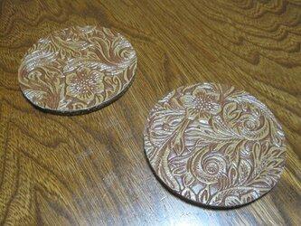 型押し カービングFレザー 2枚セット 茶の画像