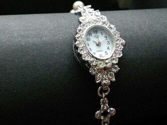 <受注制作>ブレス時計(シルバー×オーバル)パールの画像
