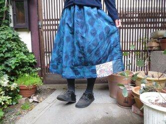 青色紬でリメイクスカート☆ドット模様でレトロモダンな夏模様74㎝丈の画像