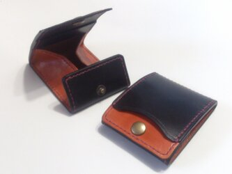 カードとコインの財布Ⅱ CC-07 コインケース 黒/赤茶【受注生産】の画像