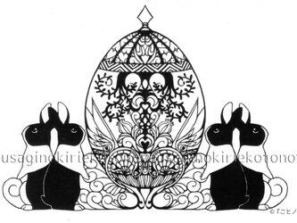 <切り絵>復活祭のうさぎたち ポストカード16の画像