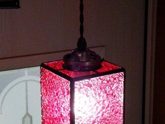 【照明】ステンドグラス、ペンダントライト,キューブ、ピンクの画像