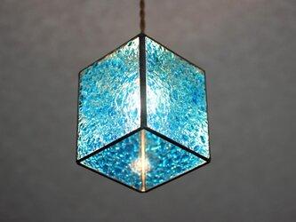 【照明】ステンドグラス、ペンダントライト,キューブ、ブルーの画像