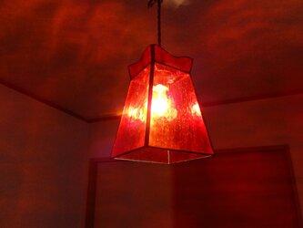 【照明】ステンドグラス、ペンダントライト,オレンジの画像