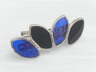 ステンドグラス製バレッタ【Leaf】ブラック&ブルーの画像