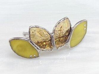 ステンドグラス製バレッタ【Leaf】ひまわりイエローの画像