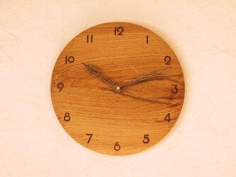 掛け時計 丸 楢材17の画像