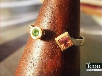 K18 グリーンダイヤモンド インペリアルトパーズ(シェリーピンク) テクスチャード オープンリングの画像
