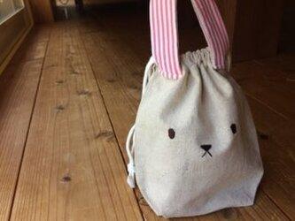 うさぎコップ袋(巾着)ピンクストライプ※送料無料の画像