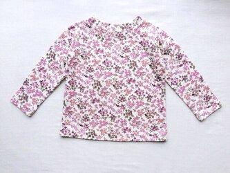 紫の小花柄の長袖Tシャツ (100cm)の画像