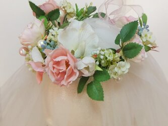 【受注生産作品】アン好みのちいさな花冠~コーネリアスローズ&スイトピーのプチフラワーティアラ~の画像