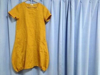 バルーンワンピ半袖★リネン100%★マスタードの画像
