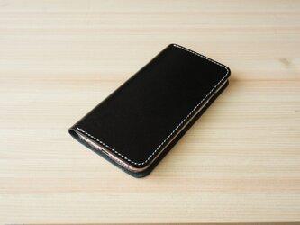 牛革 iPhone6/6sカバー  ヌメ革  レザーケース  手帳型  ブラックカラーの画像
