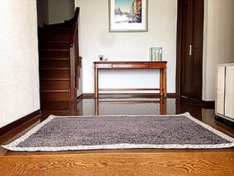 玄関ラグ大きいサイズ/ベージュフランスヘム(刺繍ネーム入り)(受注製作)の画像
