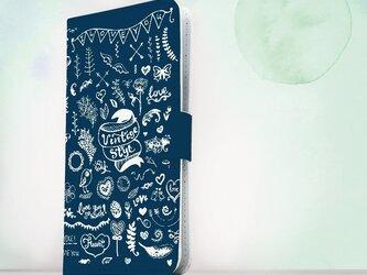 全機種対応 手帳型 スマホケース iPhoneXs iPhone9 イラスト ビンテージなイラスト ブルーの画像