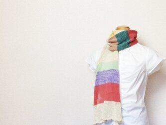 コットンとリネンの機械編みマフラー 初夏Aの画像