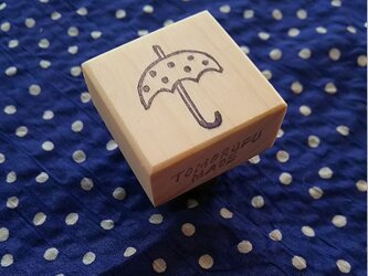 消しゴムはんこ「水玉傘」の画像