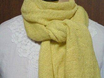 草木染め ふんわり手織りシルクストール(山吹)NO.3の画像