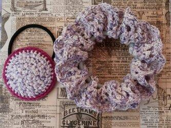 95*【親子コーデ】小さめかわいい 手編みのシュシュ&まあるいヘアゴム ゴム入れ換え可能の画像