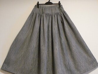 【値下げしました】着物リメイク・ブルーグレーのプリーツスカートの画像