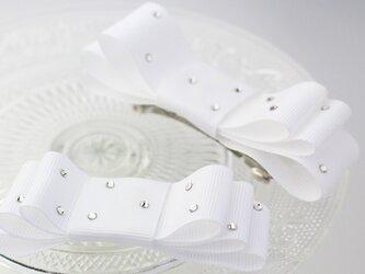 【親子お揃いプレゼント】ジュメル神戸国産バレッタ大小2個セットピュアホワイトの画像