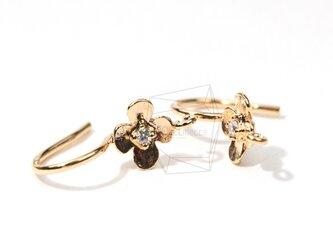 ERG-001-G【6個入り】フックピアスCZ Flower Earwires-French Hook Earringsの画像