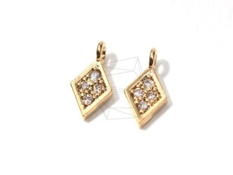 PDT-018-G【5個入り】ダイヤモンド型コネクタ,CZ Diamond Shaped Charmの画像