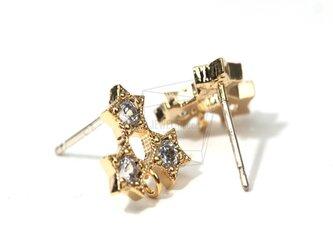 ERG-009-G【4個入り】CZトリプルスターピアス,CZ Triple Star Earringsの画像