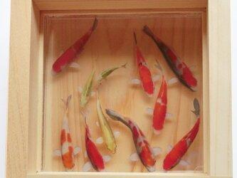 錦鯉 樹脂金魚 ひのきアート 「豊」純日本製 プレゼント 誕生日 結婚祝い 退職 還暦祝い 男性 女性 お中元の画像