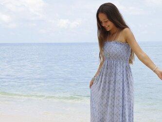 人魚姫気分♪マーメイドシェルチューブトップロングドレス <ブルー>の画像