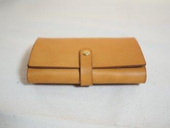 大容量 革のカードケース (ホック仕様) / キャメルの画像
