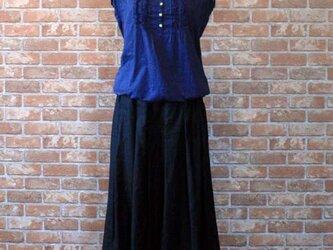 ヨーロッパリネン100% タックギャザースカート ブラックの画像