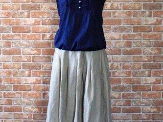 リネン100% タックギャザースカートの画像