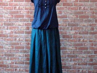 ヨーロッパリネン100% タックギャザースカート オールドグリーンの画像
