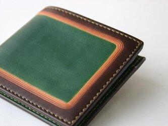 手染め手縫い革の二つ折り財布 green Smartの画像