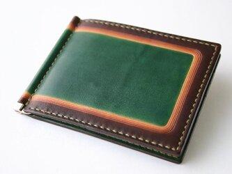 手染め手縫い革の二つ折り財布 green Quickの画像