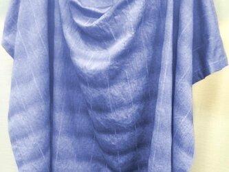 おくるみに使える授乳ケープ先染めワッシャ-  ボーダーグラデションスカイネイビー 綿100%の画像