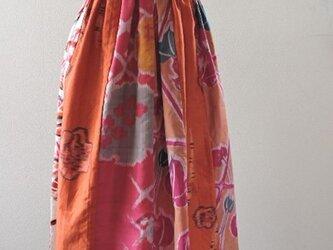 着物リメイク:いろいろ銘仙のパッチワークスカート(Red)の画像