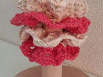 101*小さめかわいい 手編みのシュシュ ゴム入れ換え可能の画像