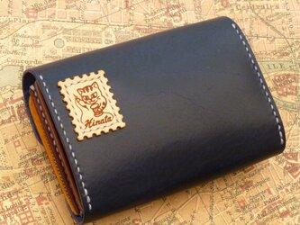 【A様オーダー品】本ヌメ革 ファスナー付き財布(紺)の画像