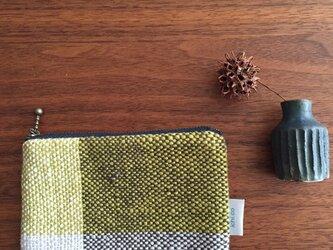 手織り綿糸のポーチ(ピスタチオ)の画像