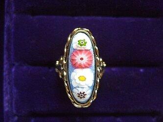 銀七宝 ミルフィオリ 指輪 小判・細長の画像