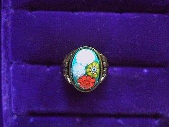 銀七宝 ミルフィオリ 指輪 青 小判・小の画像